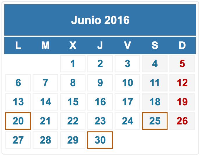 calendario fiscal junio 2016