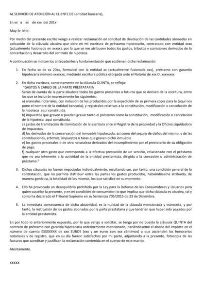 Modelo reclamacion gastos formalizacion prestamos hipotecarios for Modelo demanda clausula suelo