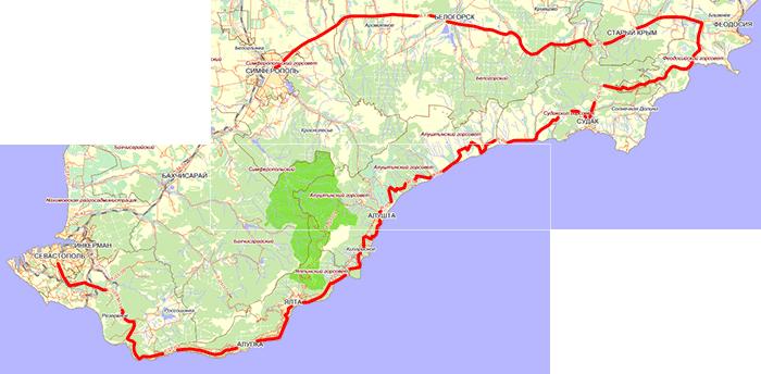 Крым. Предполагаемый маршрут