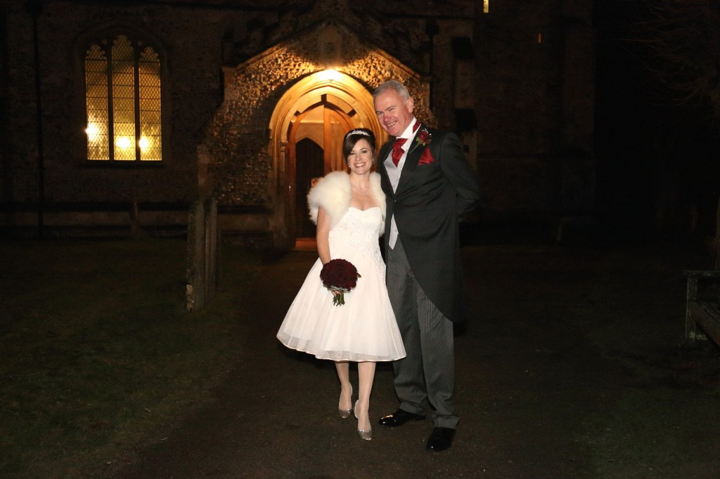linton village winter evening wedding photo