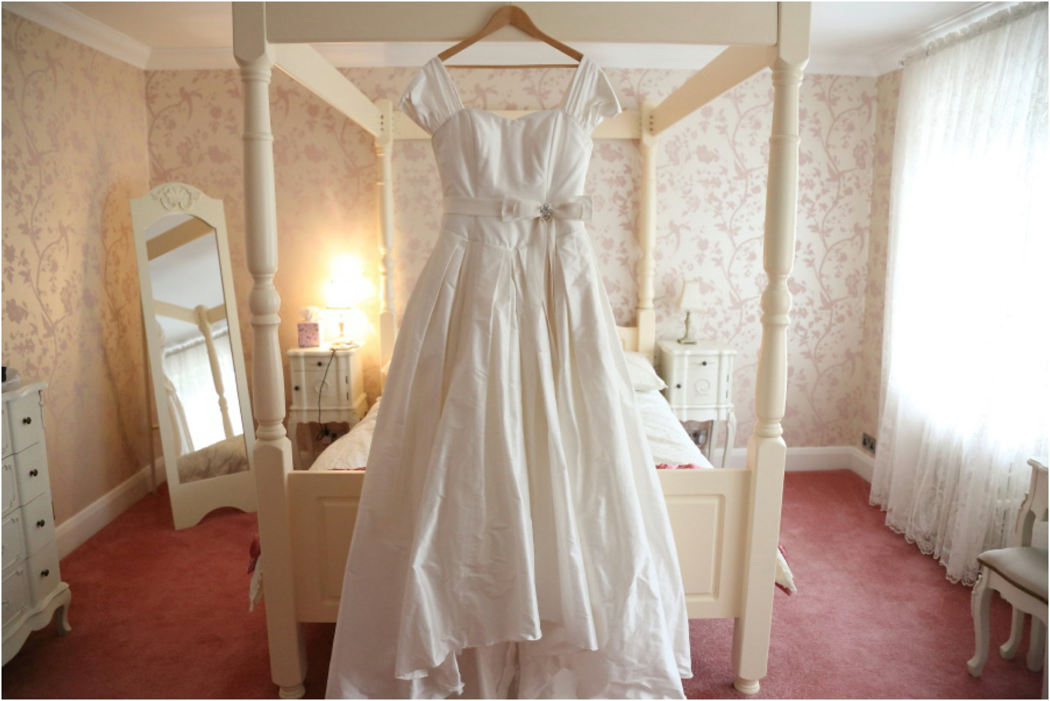wedding dress and four poster bed, essex wedding photography