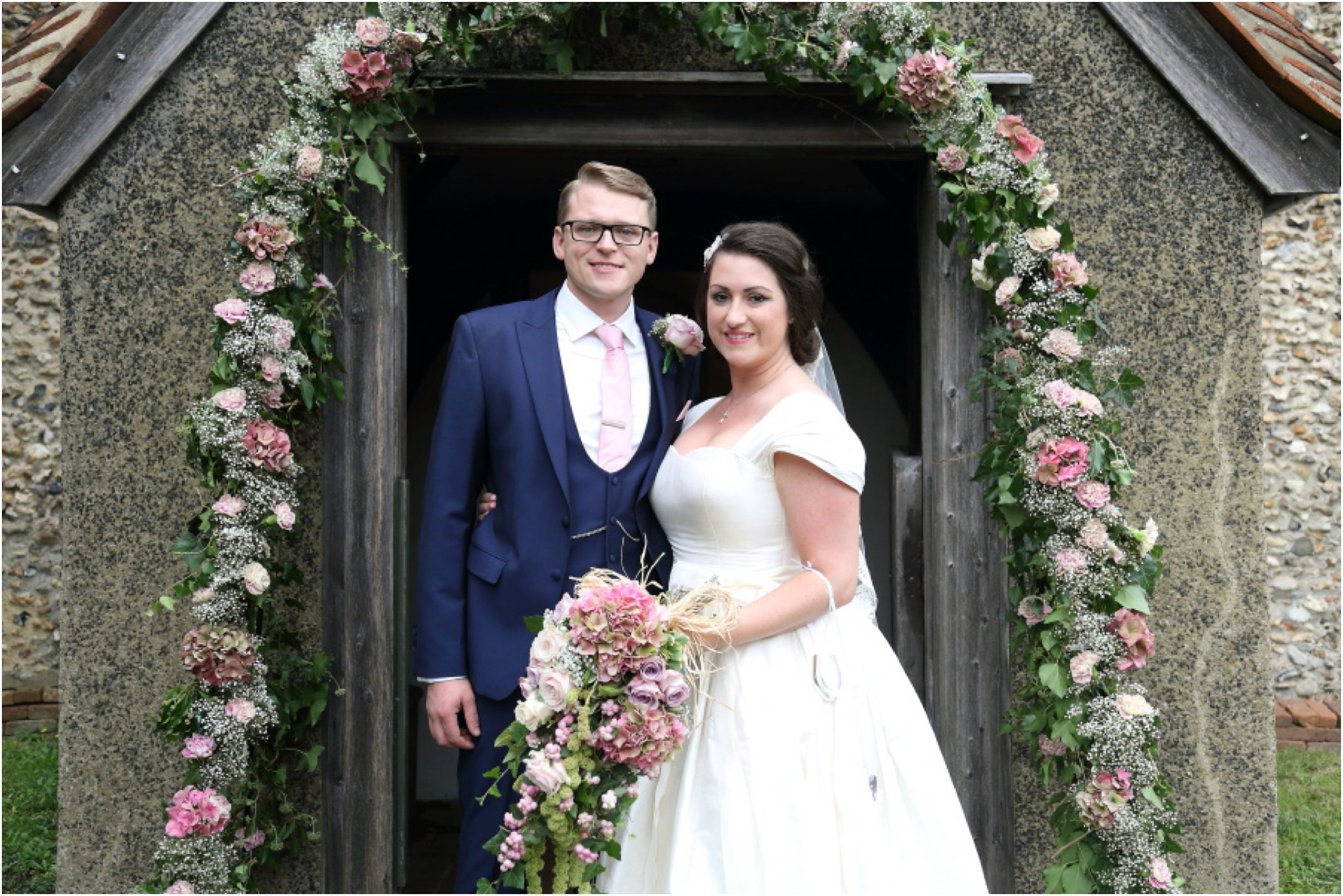 alternative creative essex wedding photography flower arch at church