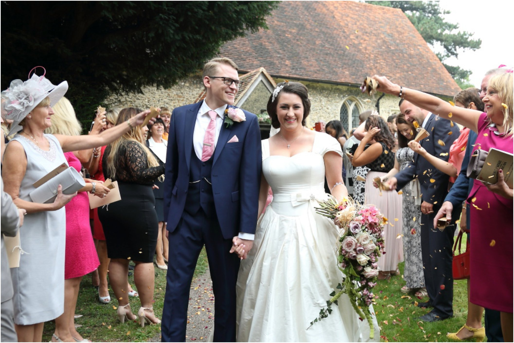confetti after church essex alternative fun wedding photography