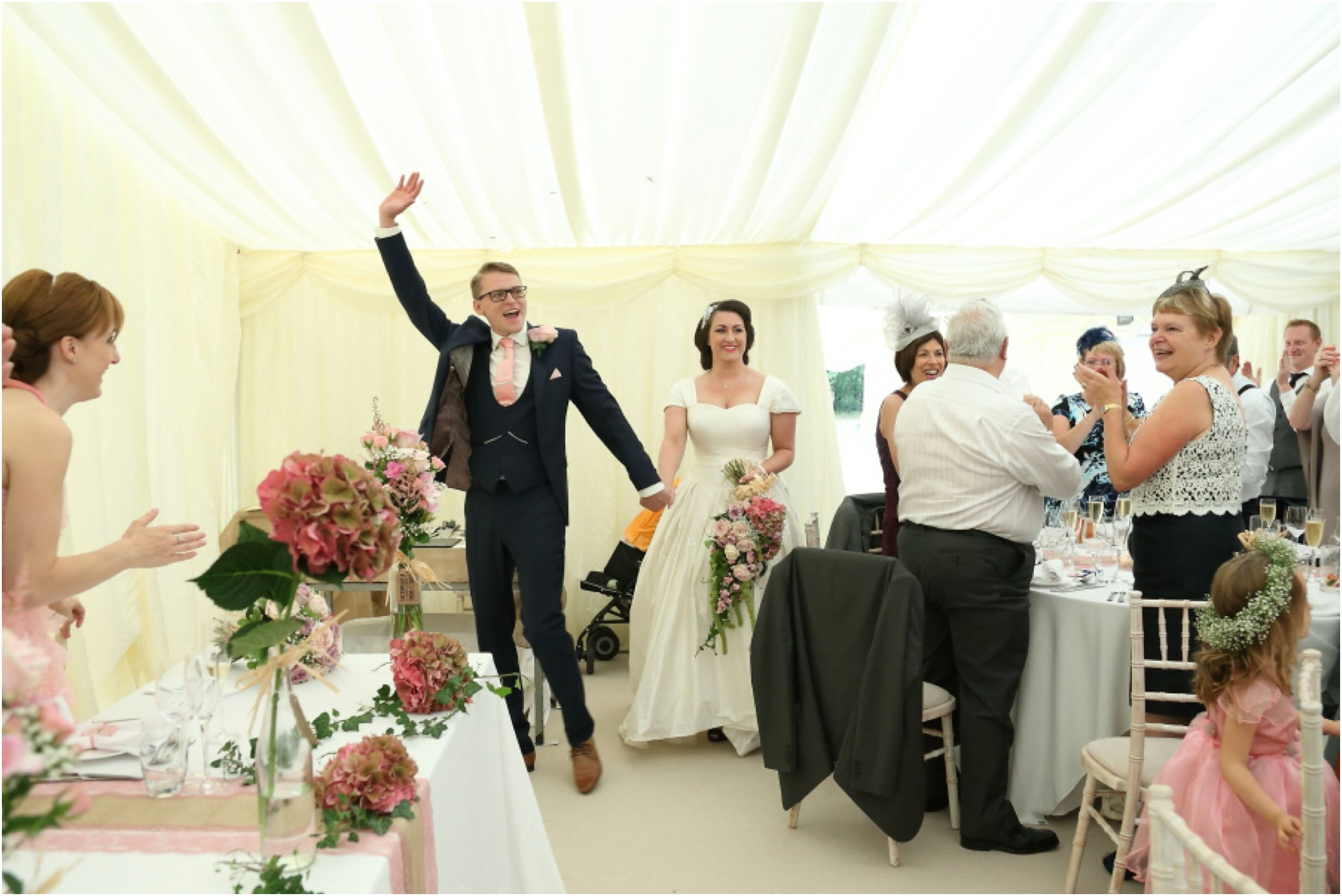 entering the marquee at fun essex wedding