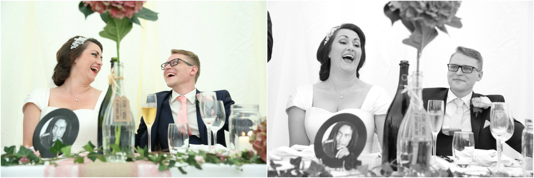 essex wedding photo laughing bride and groom at speeches