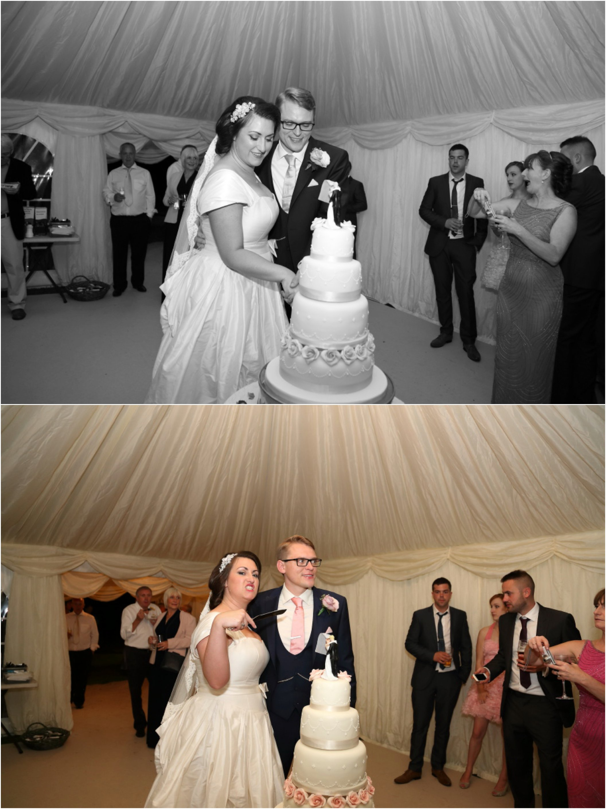 cake cut at beautiful marquee essex wedding