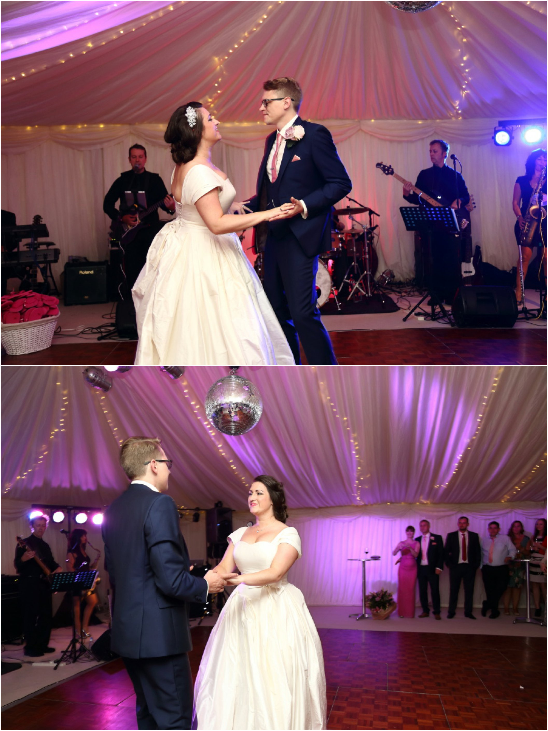 glamerous essex wedding first dance to a band