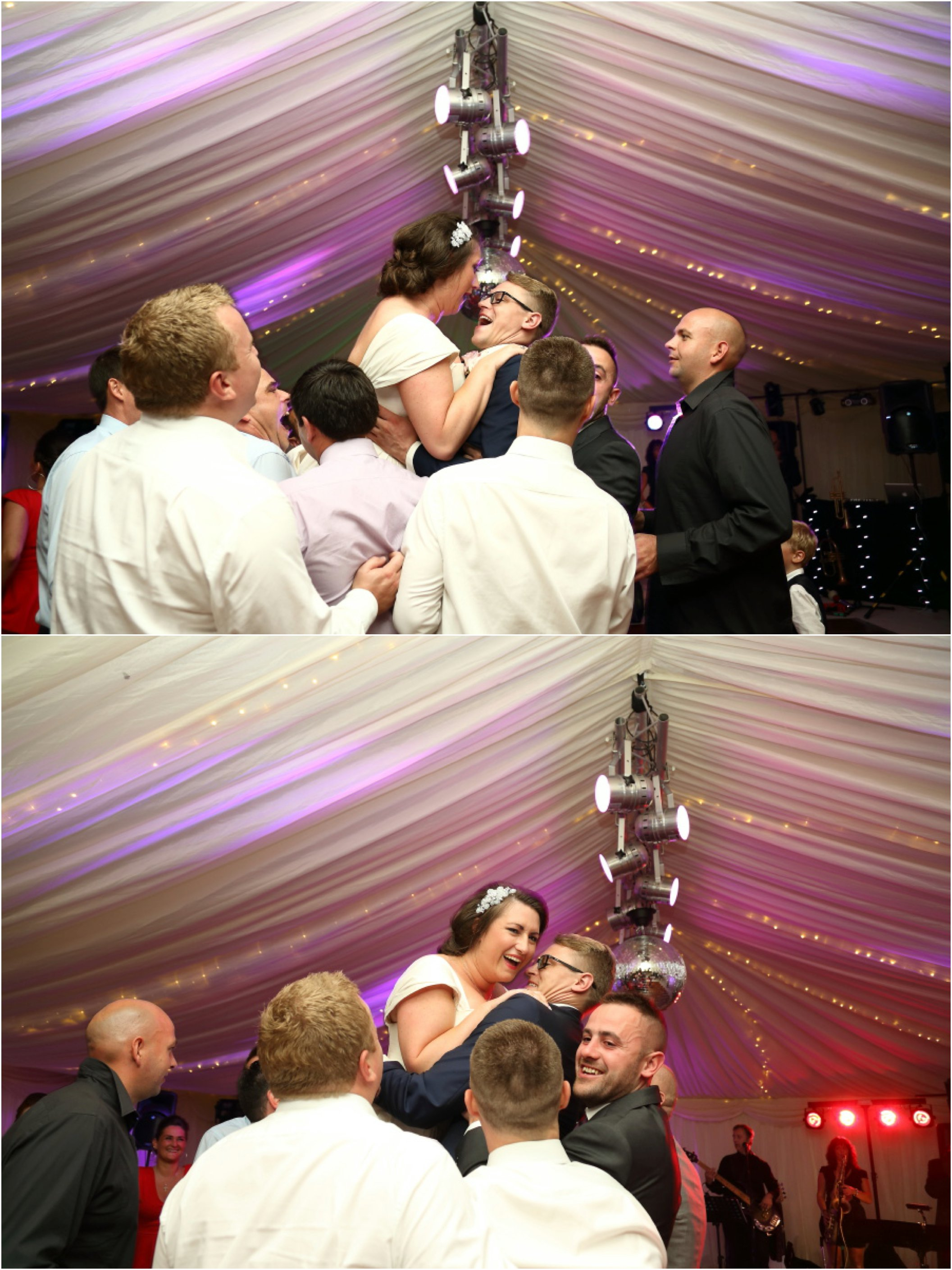 lifting the bride and groom up int he air at fab essex wedding