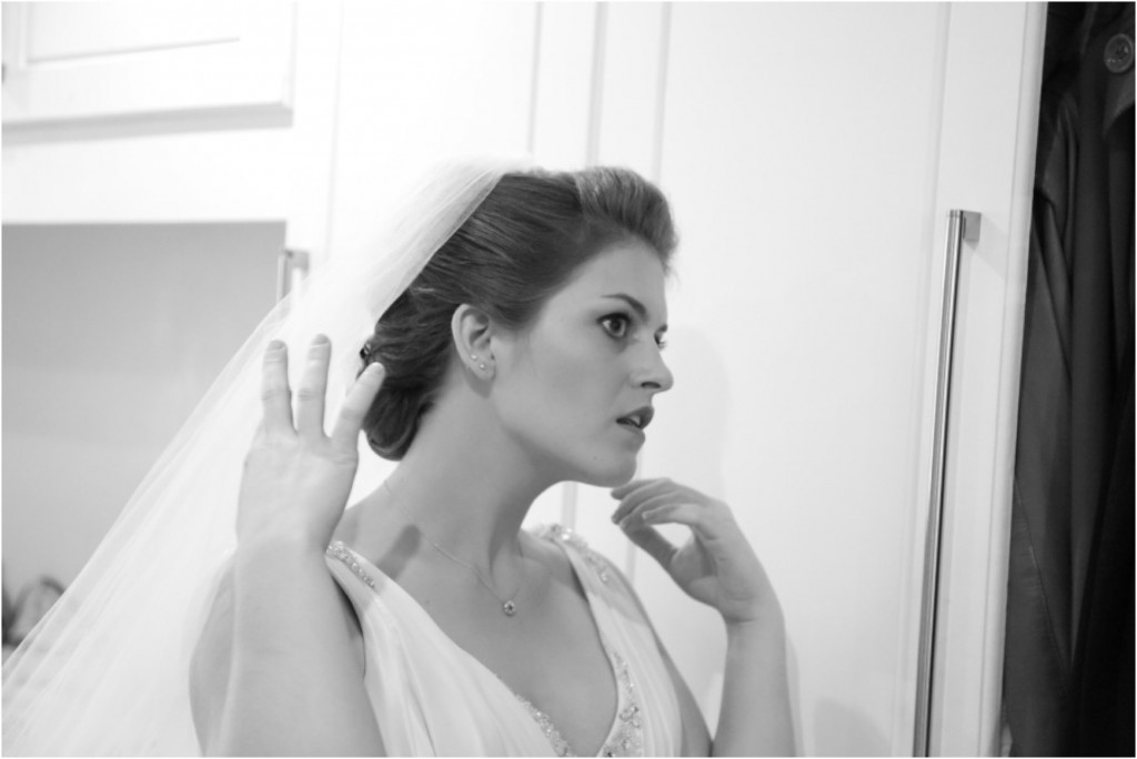 bride getting ready at quirky essex wedding