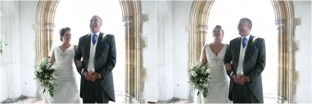 bride and father at the church at quirky essex wedding