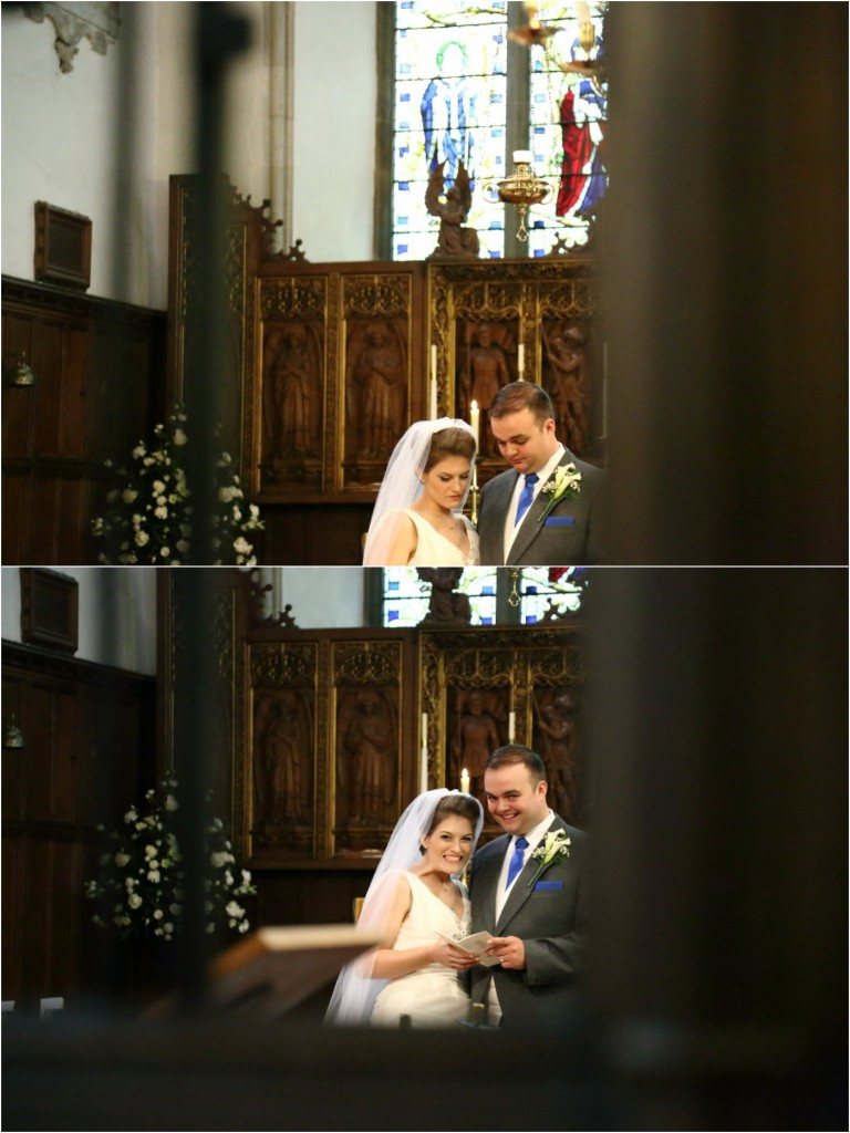 fun, quirky bride and groom at the church having fun at their essex wedding