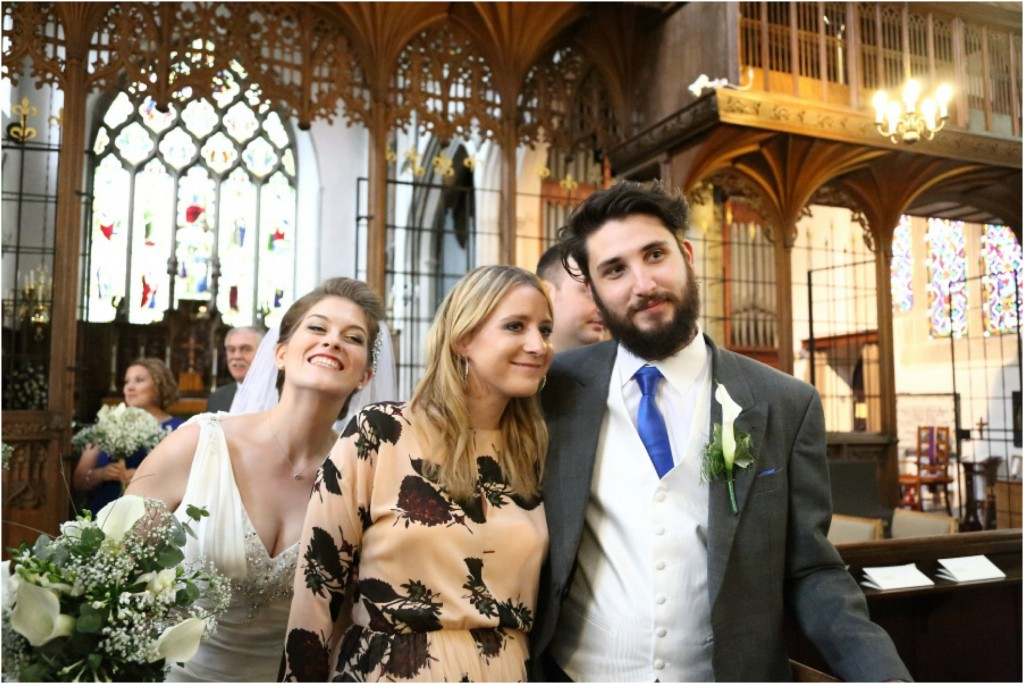 bride photo bombing at her own wedding in essex