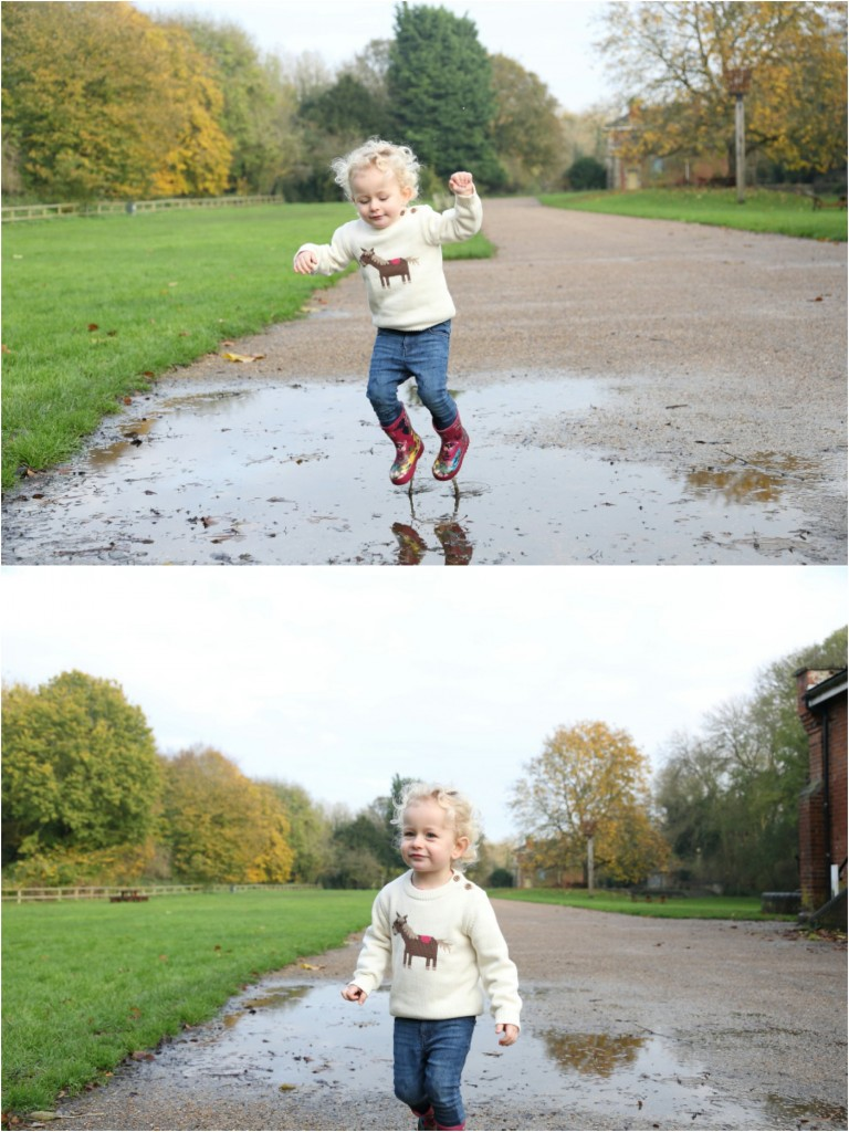 puddle jumping photo shoot at clare country park suffolk