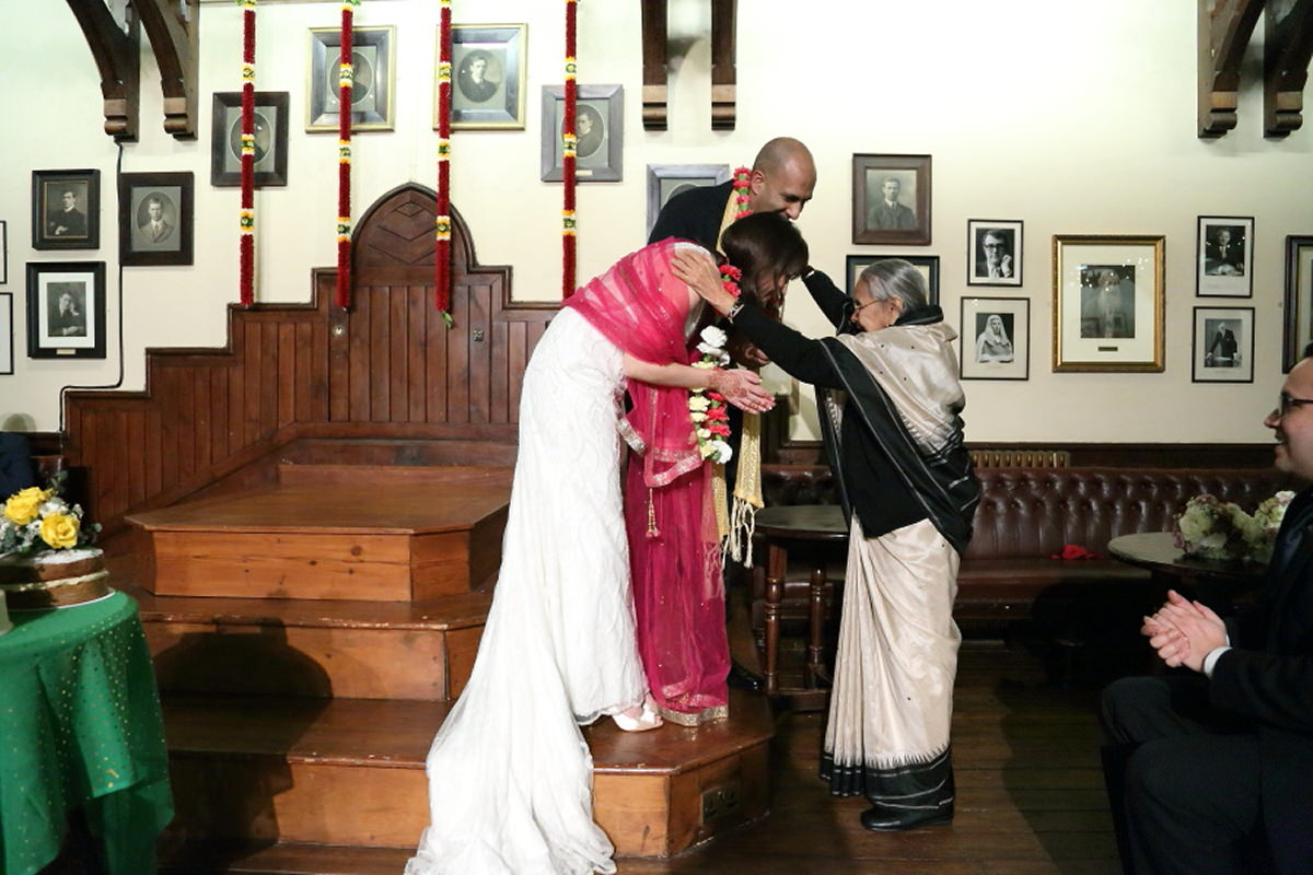 traditional indian blessing at cambridge wedding photography