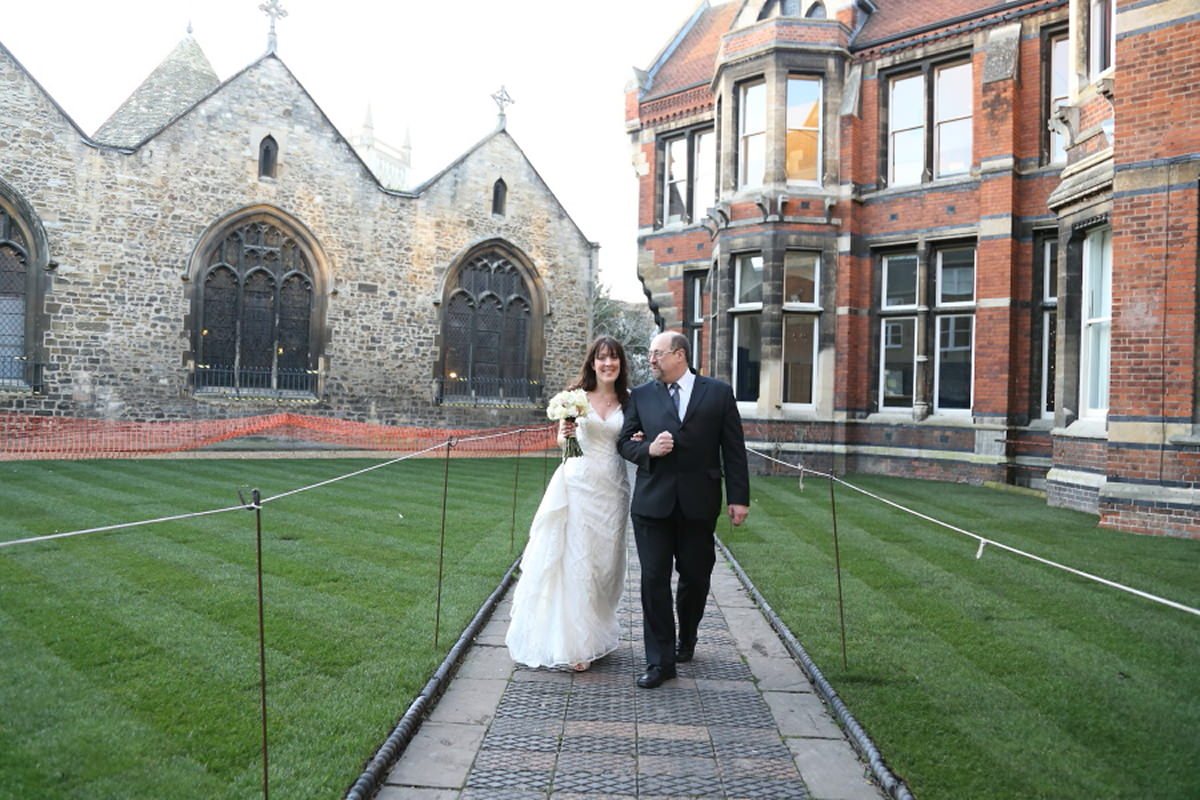 bride and father at cambridge wedding