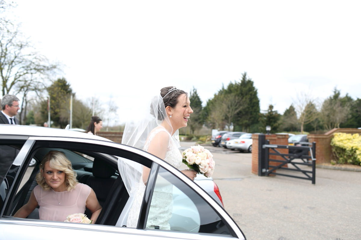 happy bride arriving at channels golf club