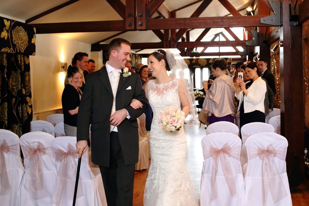 back down the aisle after wedding at channels golf club essex
