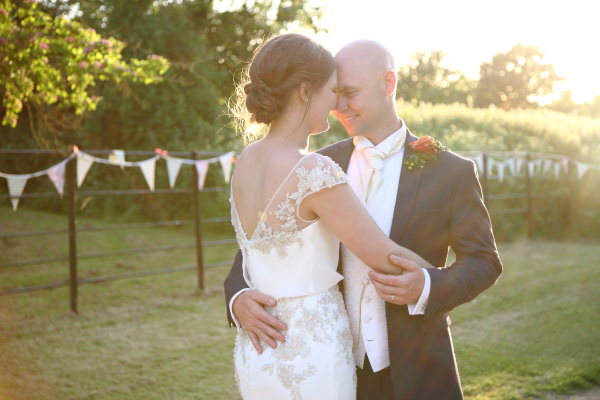 intimate relaxed wedding photography in the evening sunshine in saffron walden