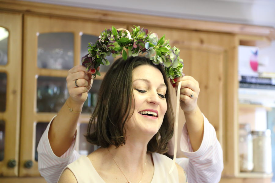 natural documentary photography, flower crown at bishops stortford wedding