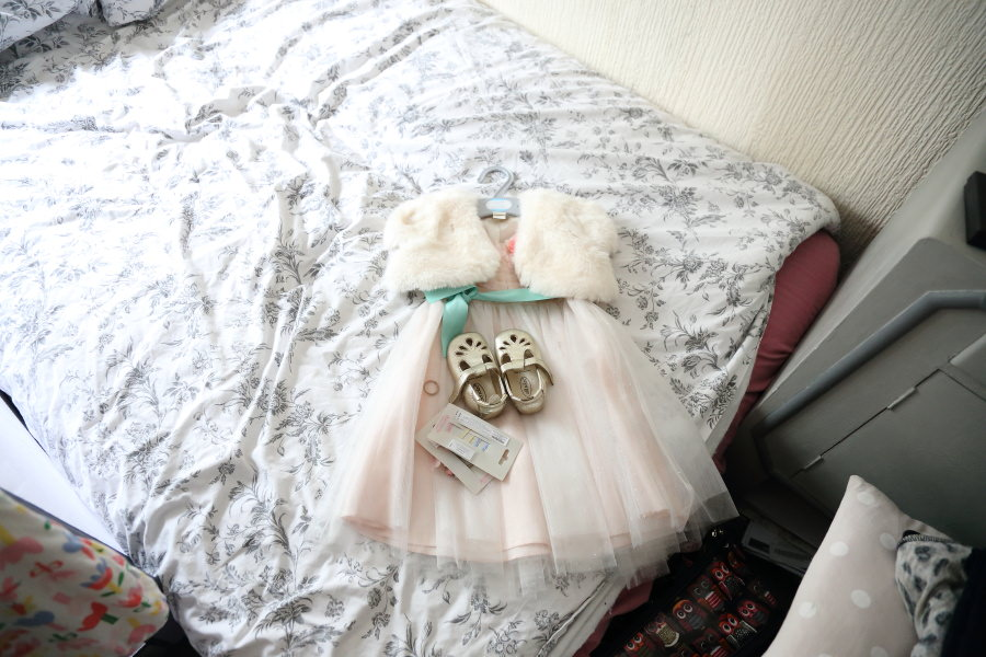 pretty flower girl clothes laid out, alternative wedding photography