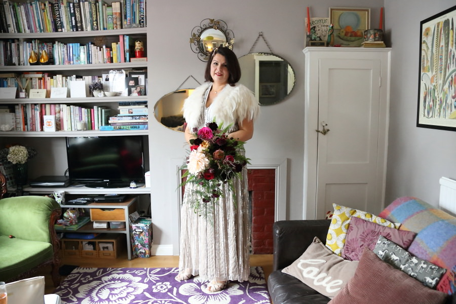 amazing sequin dress, and cretive bouquet at bishops stortford wedding