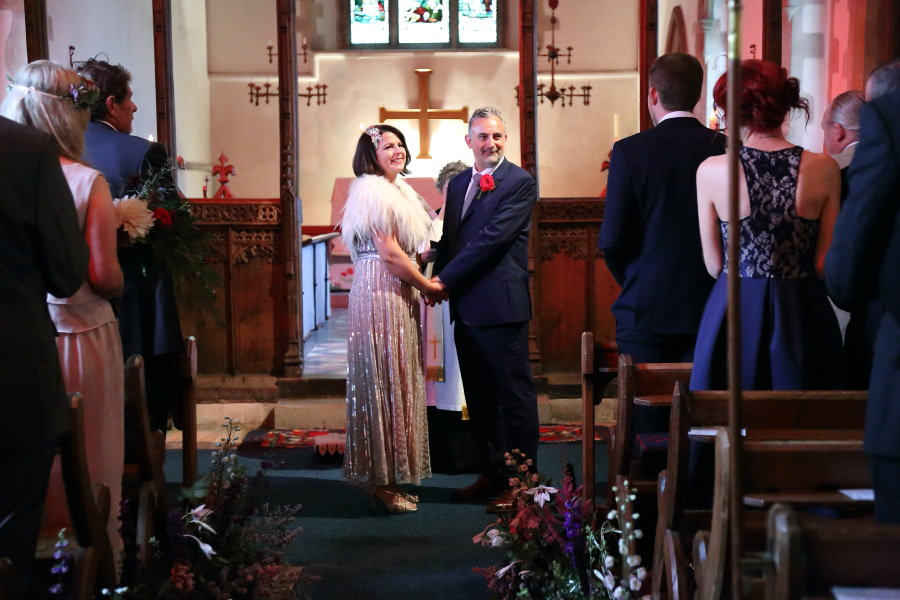 happy couple at manuden church wedding