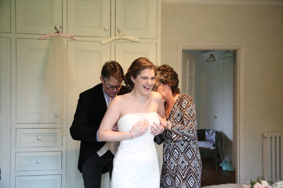 fun with parents while getting ready at bury st edmunds wedding