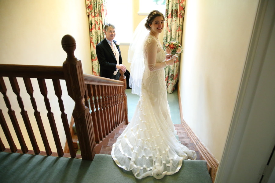 bride and father at nowton wedding