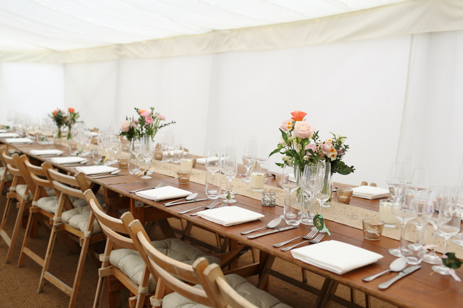 long tables at natural wedding in bury st edmunds