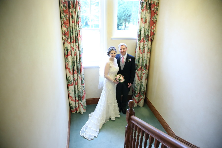 on the stairs wedding photography bury st edmunds