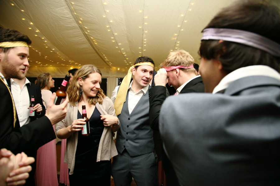 school traditions at bury st edmunds wedding, ties round your head!