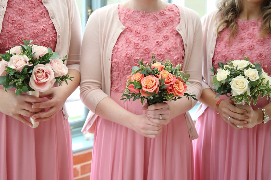 pink bridesmaids and bouquets at bury st edmunds wedding