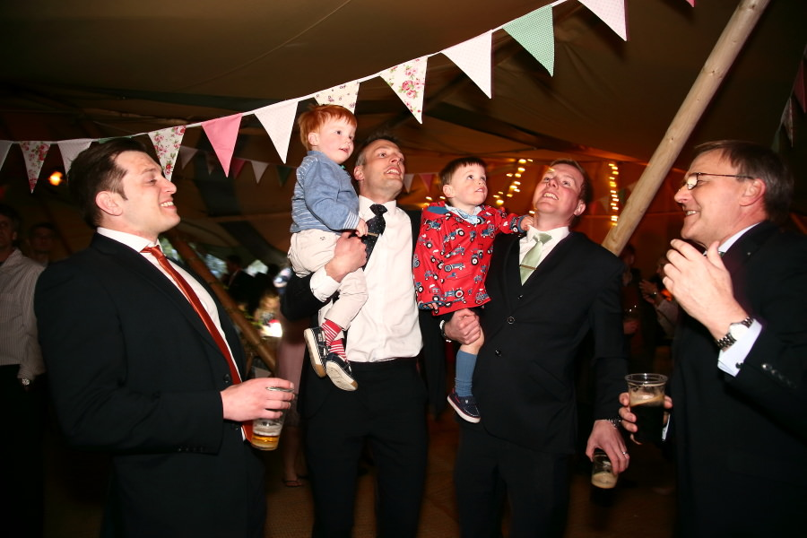 dancing with kids at wedding