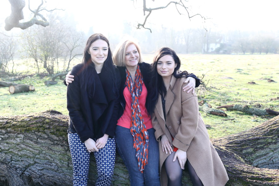 mother and grown up daughters at family photo session in cambridge