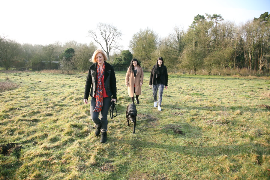 family photo session in Cambridge, walking the dog.