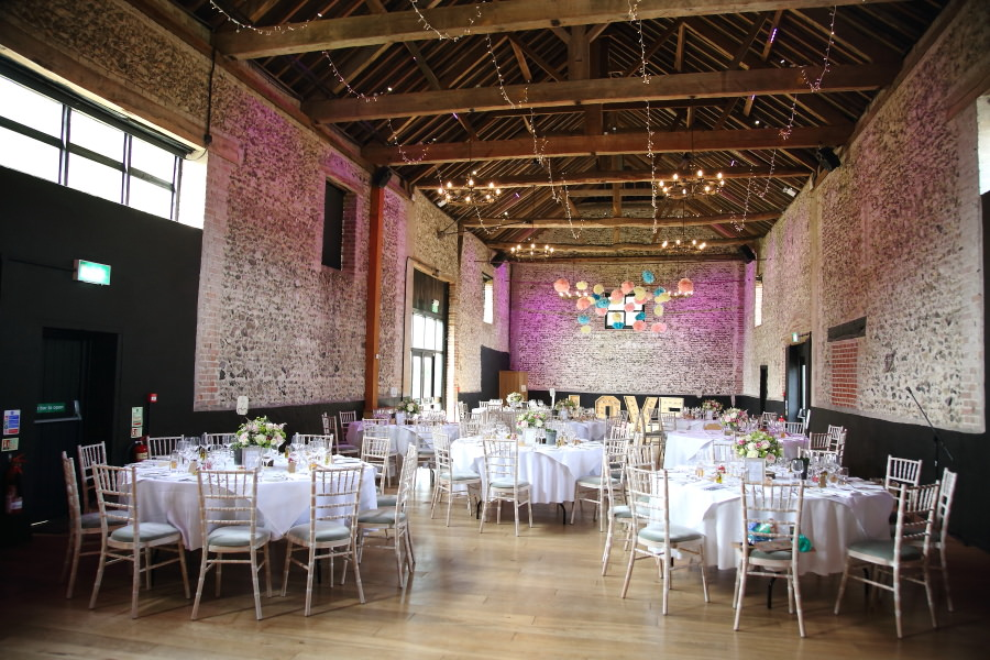 beautiful reception at The Granary Barns, Suffolk wedding