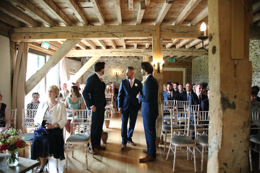 waiting for the bride at The Granary Barns wedding, Suffolk