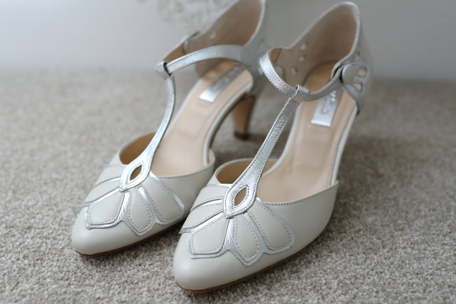 Rachel Simpson shoes at Granary Barns wedding, suffolk