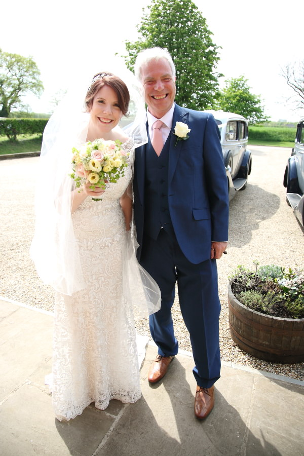 bride and father at the granary barns wedding, suffolk