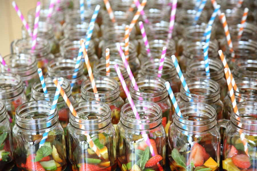 mason jars with pimms, at the granary barns wedding