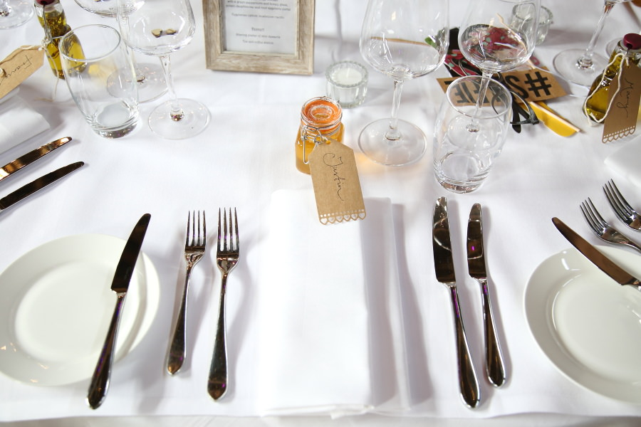 table details at pretty wedding, The Granary Barns, suffolk