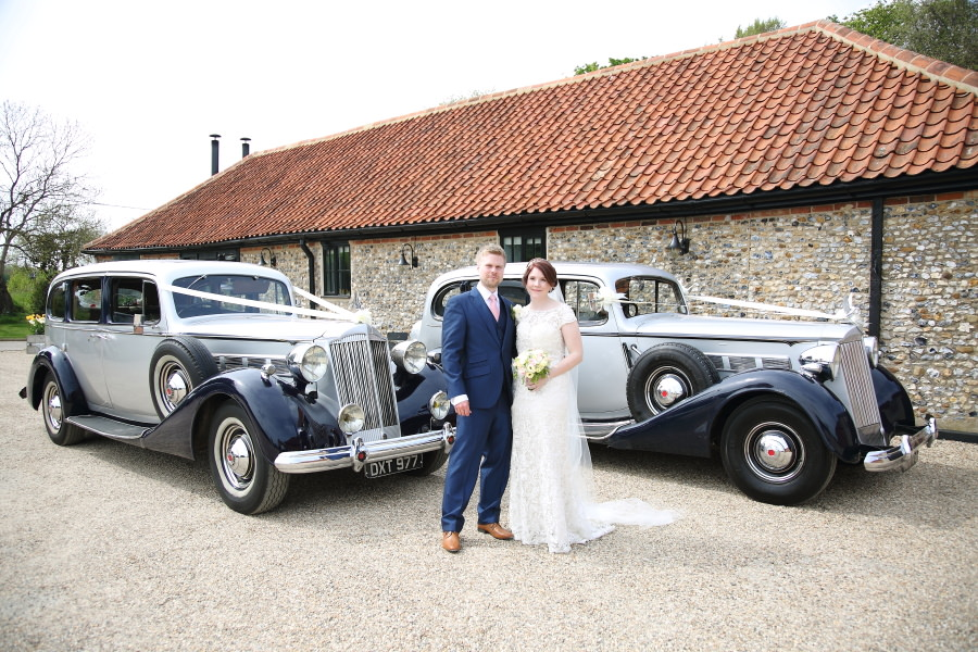 vintage wedding cars at the granary barns wedding, suffolk
