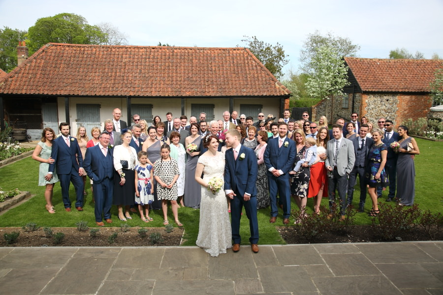 fun group shot at granary barns wedding