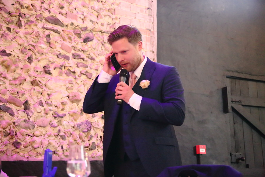on the phone at speeches time, the granary barns suffolk