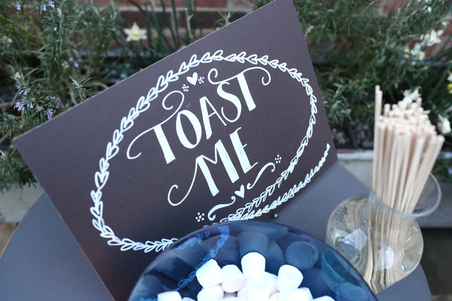 toast me sign for toasing marshmallows at suffolk wedding