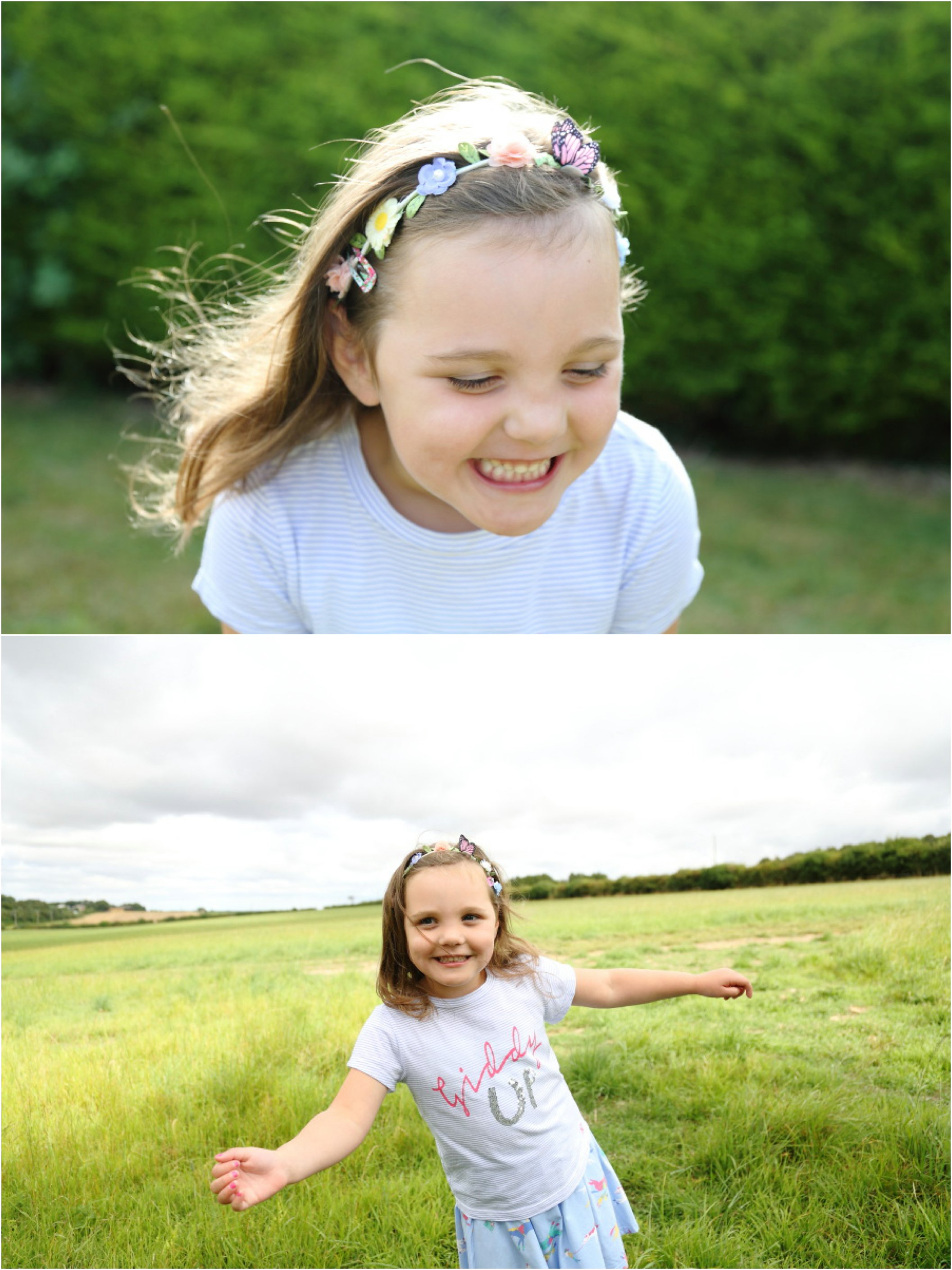 relaxed fun childrens portriat shoot in the fields at SIx Mile Bottom, Cambridge