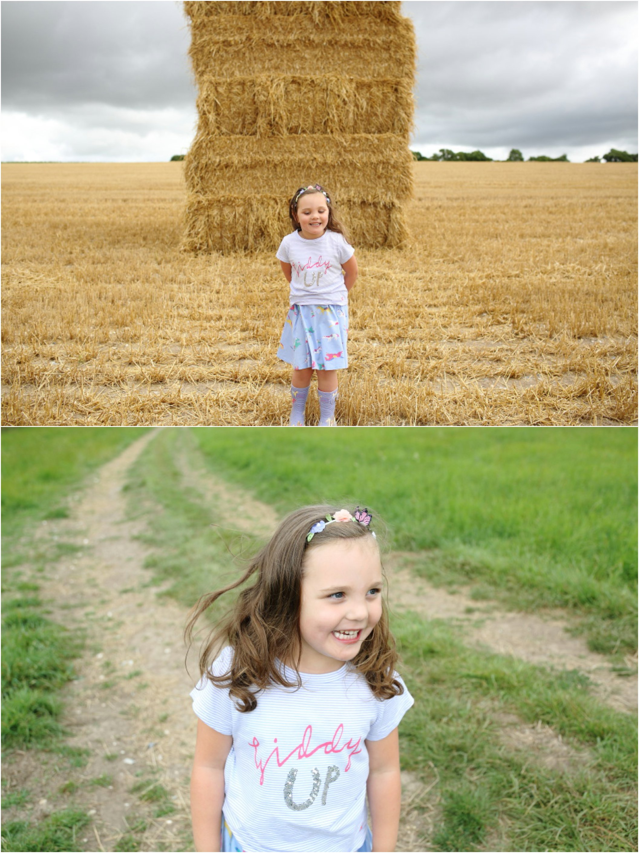 childrens portriat photography on the farm in Cambridge, haystacks and fields