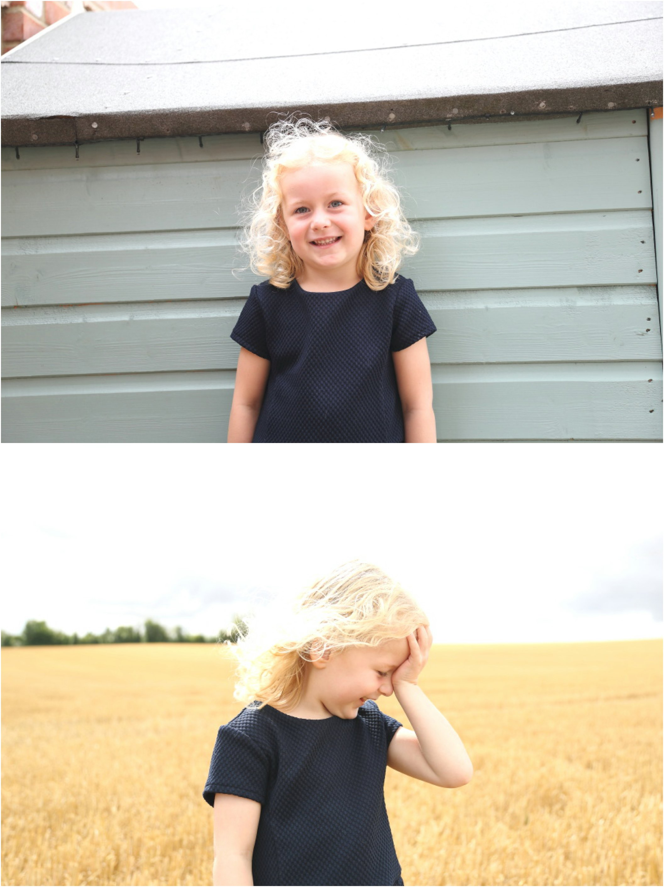 fun bright portrait session of blond little girl in Kedington, Suffolk
