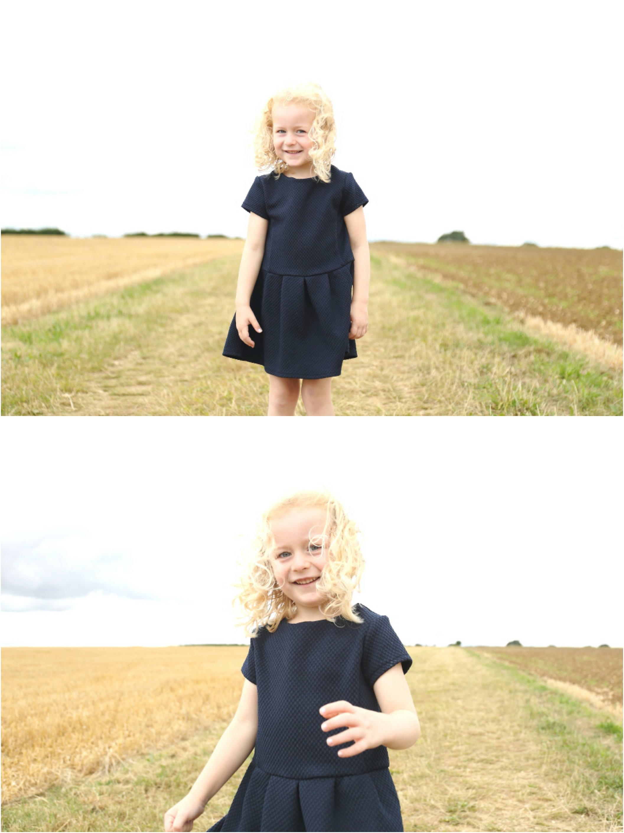 cheeky little girl in corn field family photo session in Suffolk