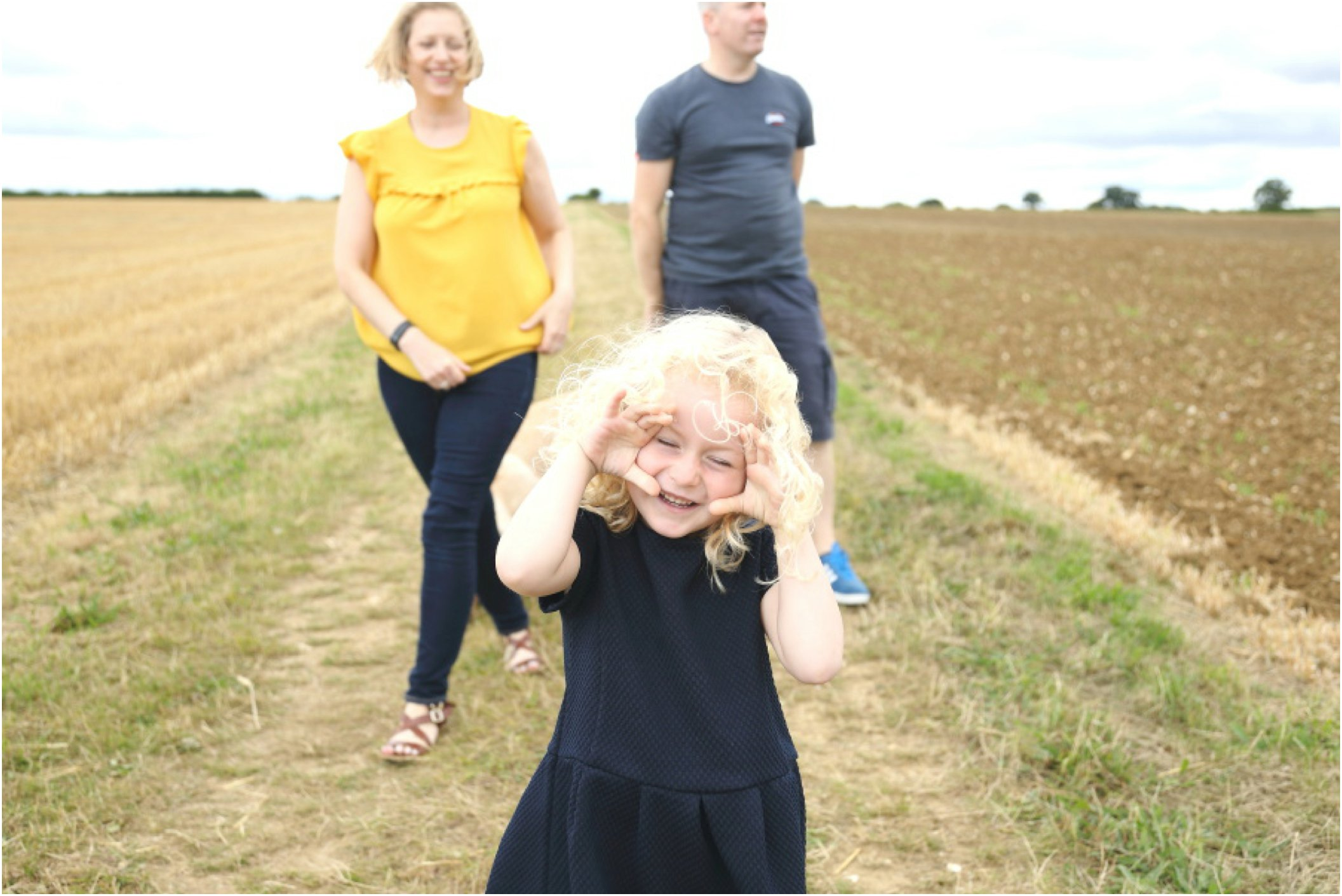 relaxed and authentic family photography session in corn field in Kedington Suffolk
